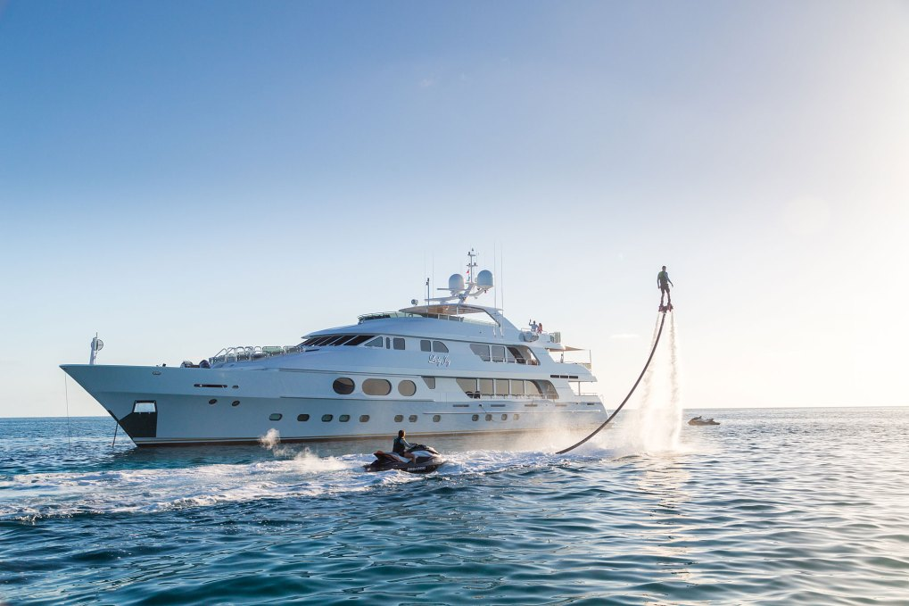 A fly board and SkiDoo are two of 157ft motor yacht LADY JOY's many toys