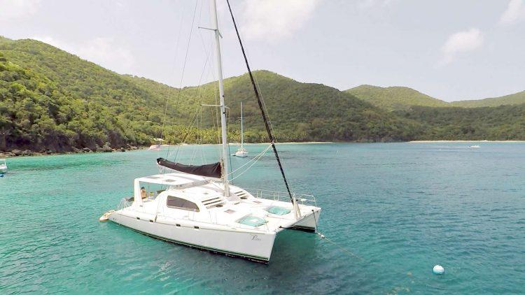 47ft Leopard Catamaran at anchor in the Caribbean