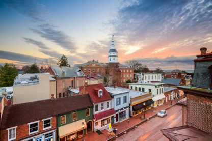View of downtown Annapolis, Maryland at sunset