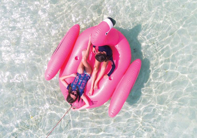 Happy passengers on the M/Y LADY J's towable pink flamingo