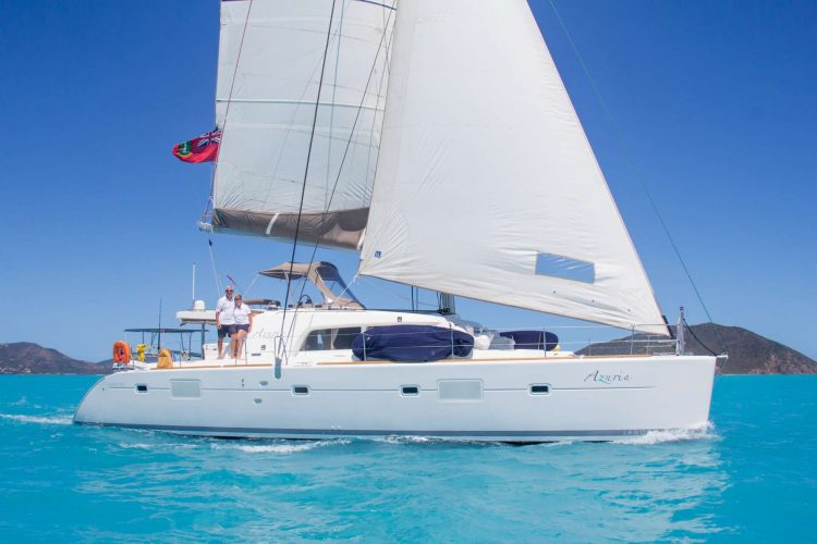 Main shot of 50ft Lagoon sailing catamaran AZURIA