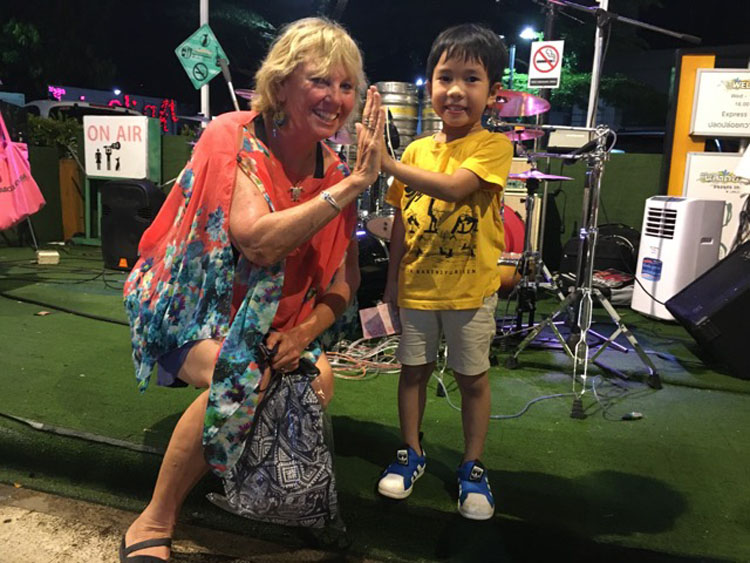 Carol with new friend in Phuket, Thailand yachting fam trip in thailand