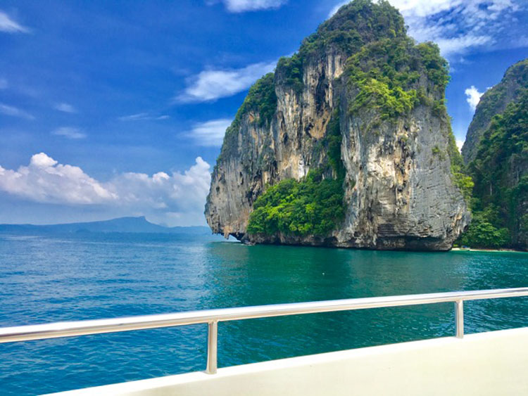 Phuket Thailand's dramatic waterscape from private yacht charter