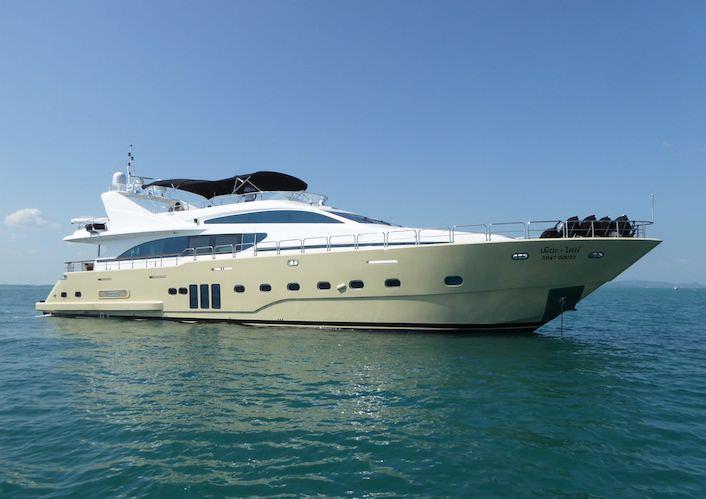 Main Shot of 97ft motor yacht Mia Kai operating in southeast Asia