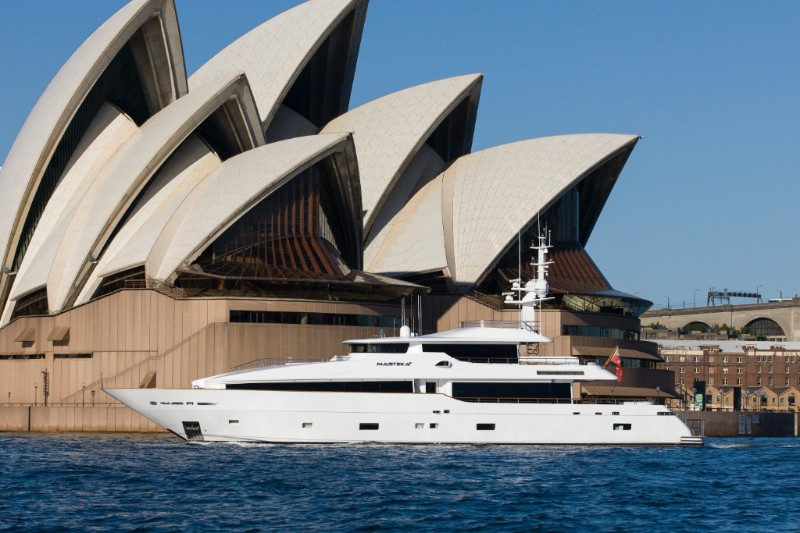 122ft Kha Shing motor yacht MASTEKA 2 cruising by the Sydney Opera House in Australia