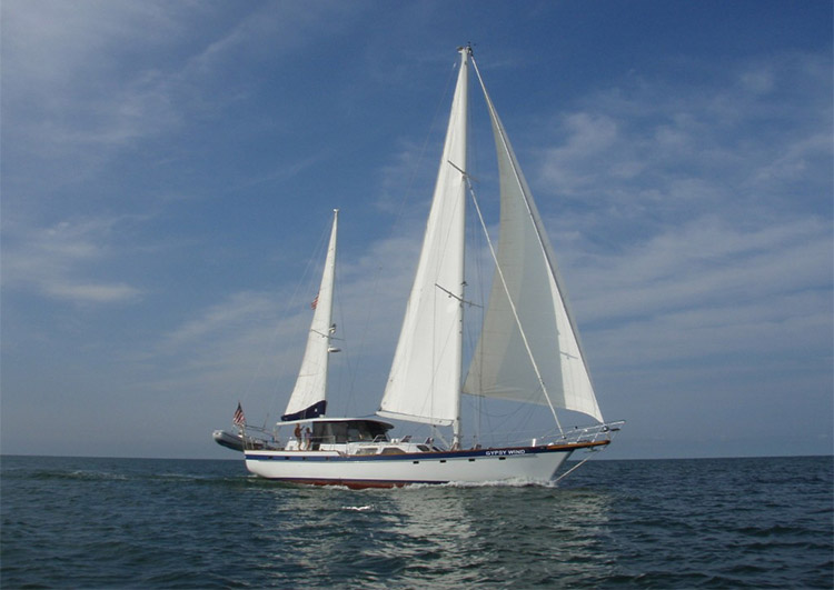 Main shot of 72ft Irwin sailing yacht Gypsy Wind. Operating in the North America and the Central America