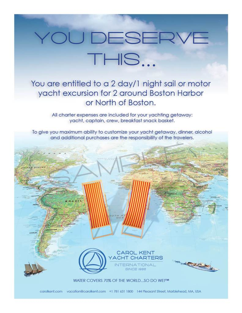You Deserve This Gift Certificate from Carol Kent Yacht Charters International