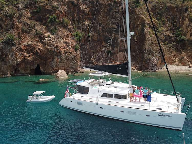 Main shot of award-winning 51ft Lagoon 500 sailing catamaran Catatonic