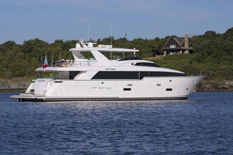 Main shot of 102ft Hatteras motor yacht LADY CARMEN on the water