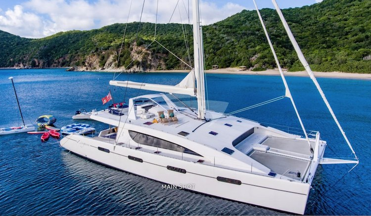 Zingara 76ft Matrix S-Y Catamaran with her many water toys sailing yacht catamaran in the Caribbean