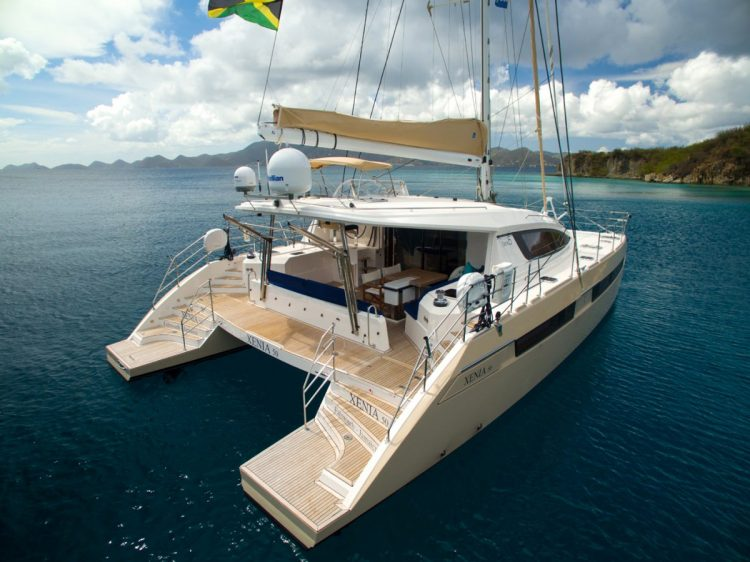 50ft Privilege sailing catamaran XENIA 50 moored in The Caribbean