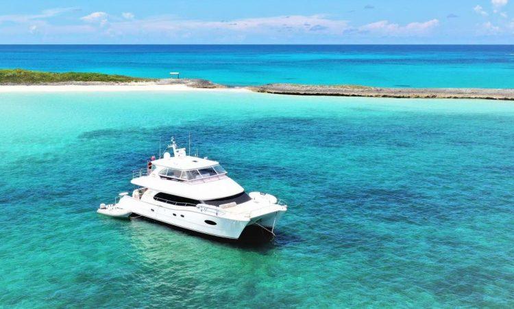 60ft Horizon power catamaran OHANA at anchor in the Caribbean