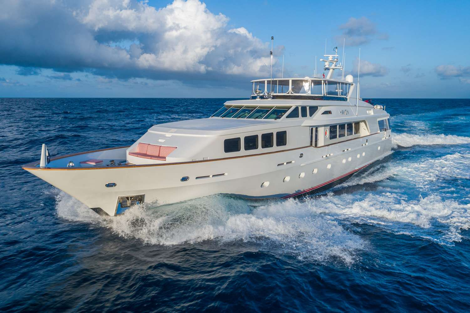 124 ft Trinity motor yacht HAVEN is available in The Caribbean and North America