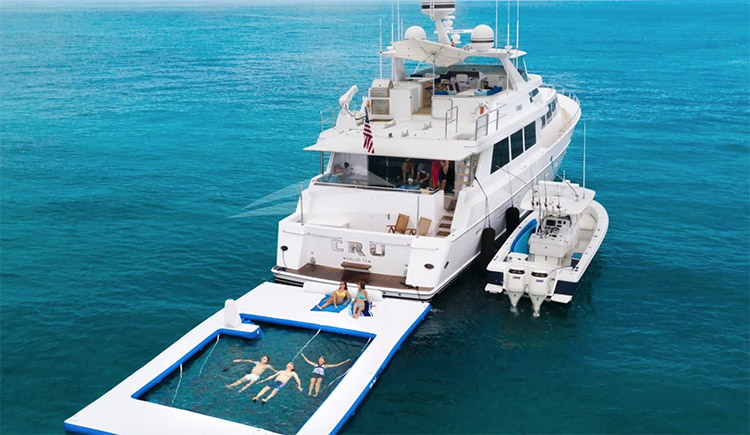 96ft Westship CRU with its traveling pool operates in the Bahamas, Caribbean and North America