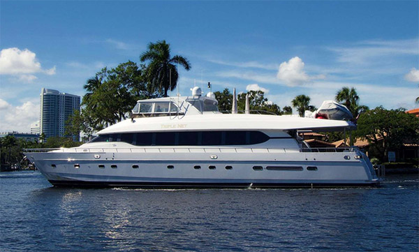 92ft Monte Fino motor yacht TRIPLE NET operates in the Bahamas and North America