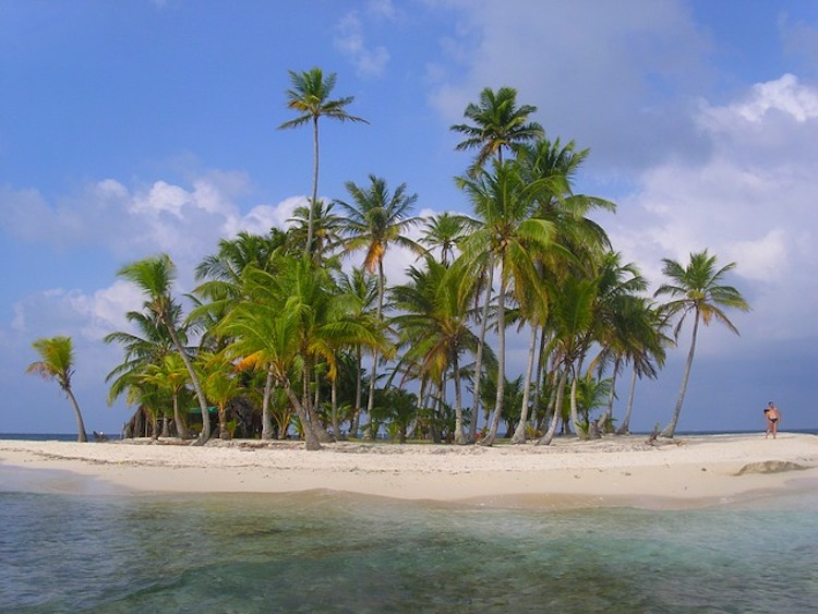 Tiny island in the San Blas chain Panama Central America
