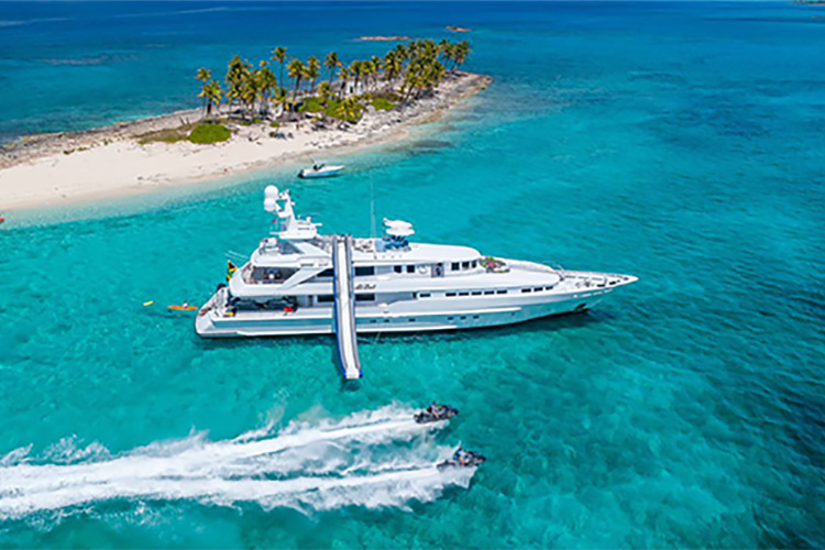 145ft Heesen motor yacht AT LAST with jet skis, operates in the Caribbean