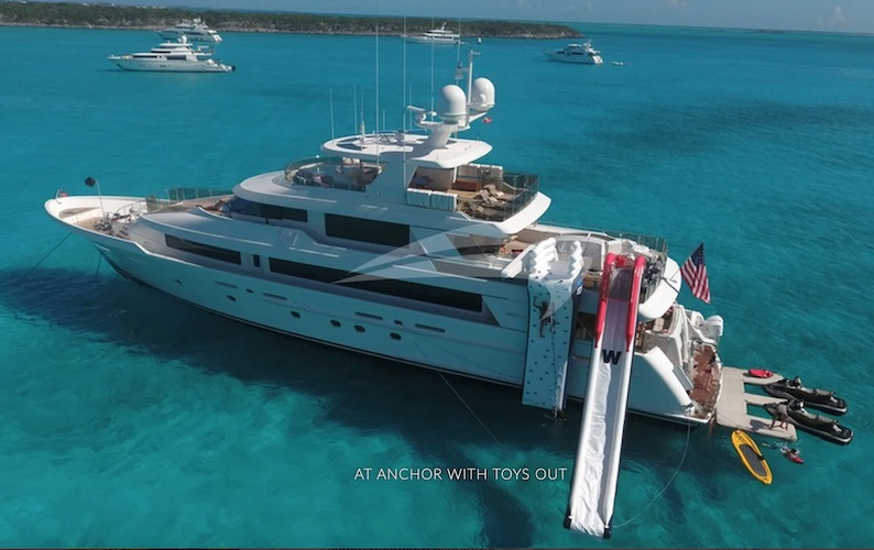 131ft Westport motor yacht PIPE DREAM with slide and toys operates in the Caribbean