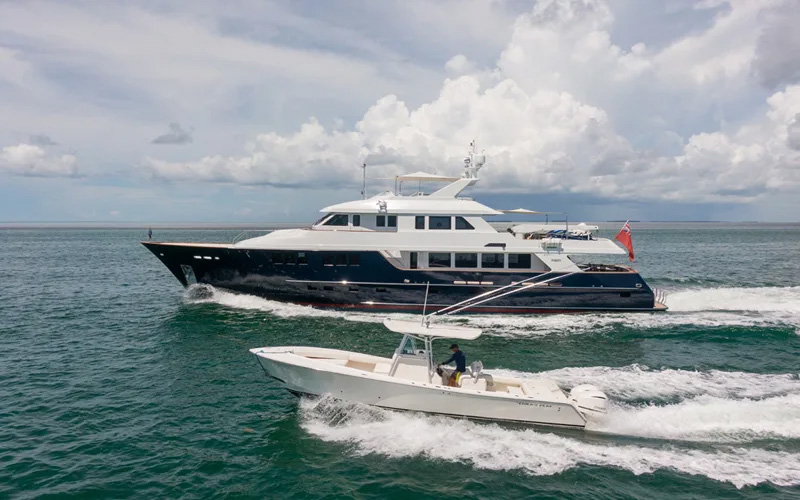 113ft Burger motor yacht CHILD'S PLAY operates in the Florida Keys, the Bahamas and New England