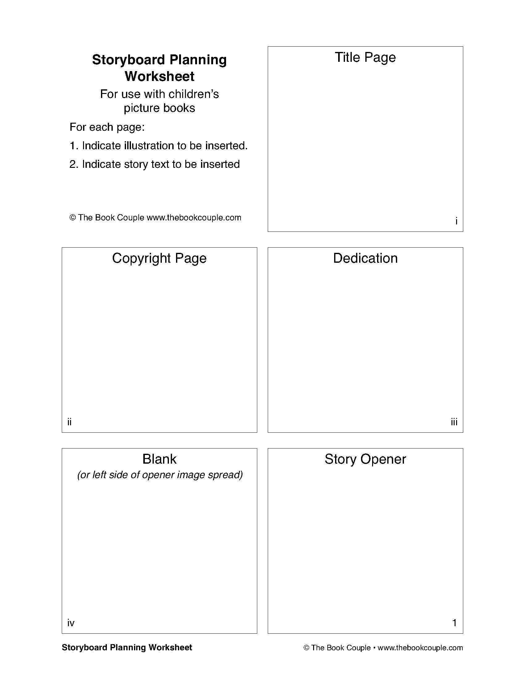 Storyboard Planning Worksheet For Use With Children S