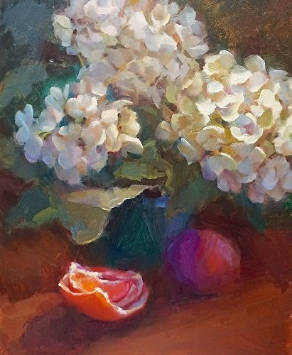 hydrangeas-with-red-grapefruit