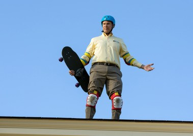 Skateboard Brad on roof