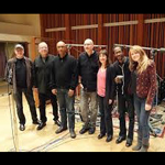 group photo of Carol Robbins with Billy Childs and other artists in studio recording session for Map to the Treasure Reimagining Laura Nyro