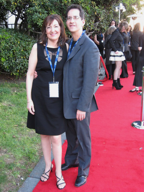 Carol Robbins on the red carpet with Buddy Halligan at the 2011 Grammy Nomination Party