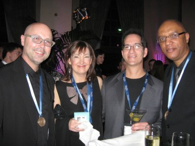 Carol Robbins, John Beasley, Buddy Halligan and Billy Childs at the 2011 Grammy Nomination Party