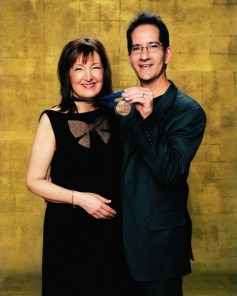 Carol Robbins with husband Buddy Halligan at the 2011 Grammy Nomination Party