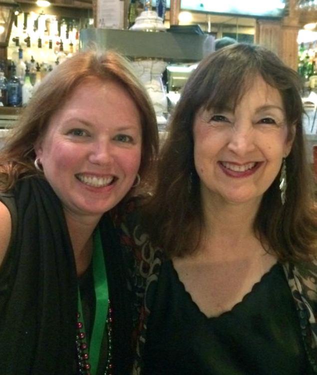 Photo of Carol Robbins with Keri Armendariz Marketing Manager of Lyon & Healy Harps of Chicago