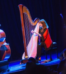 Photo of Carol Robbins solo on stage at Lyon & Healy's 150th Birthday Celebration at Park West in Chicago. (Photo © Copyright 2014 Lyon & Healy Harps, Inc., Chicago.)