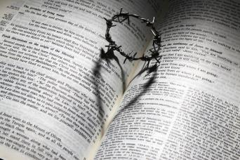 bible and crown of thorn