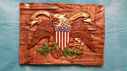 Alberta 0719 Eagle plaque on wood