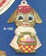 Alberta Ornaments 0192 girl bunny with basket