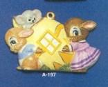 Alberta Ornaments 0197 bunnies with egg house