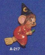 Alberta Ornaments 0217 witch mouse on Broom
