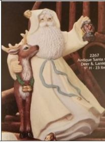Gare 2267 Antique Santa with Deer and Lantern