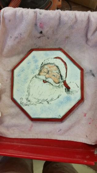 Kinzie 0129 Silkscreen Santa on Octagon Plaque (or base or trivet)