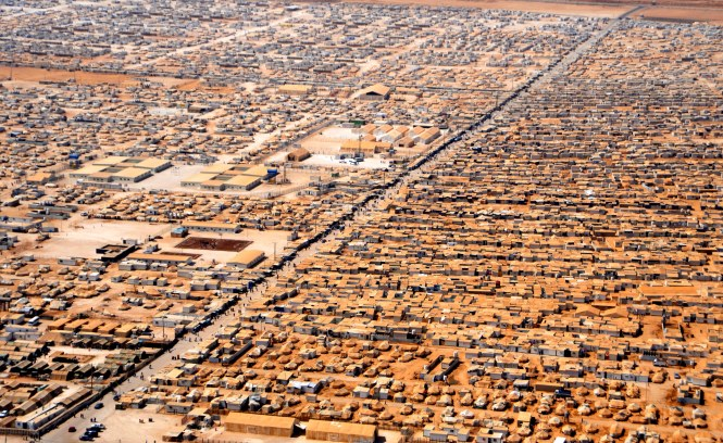 An aerial view of a Refugee Camp