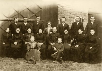 My grandfather, 3rd from left, back row, before he was married. Photo taken about 1900 in the Ukraine.