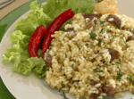 Risoto de Jerimum com carne de sol e queijo brie