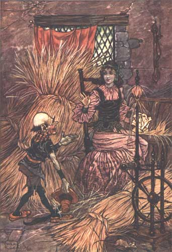 This illustration by Charles Folkard, from Rumpelstiltskin in Grimm's Fairy Tales, 1911.