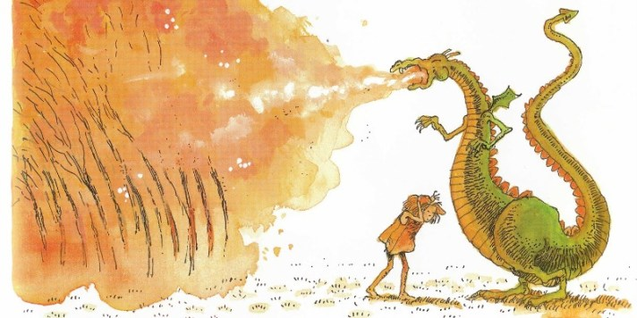"Illustration from ""The Paper Bag Princess"" written by Robert Munsch and illustrated by Michael Martchenko"