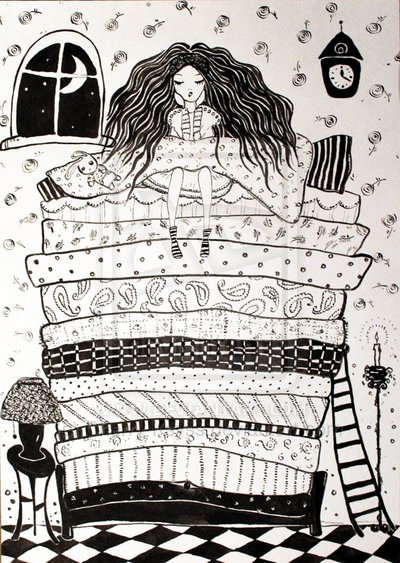 """Illustration by Cherry-Ksyss at deviantart.com from a similar story, """"The Princess and the Pea"""""""
