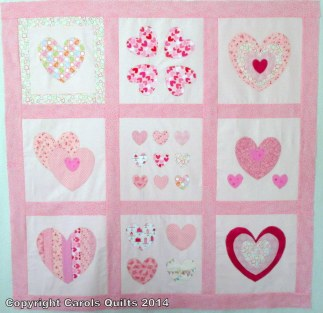 Completed Heart Template Quilt