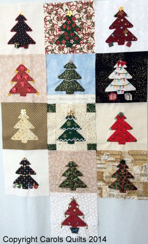 A collage using Carols Quilts Christmas Tree Template