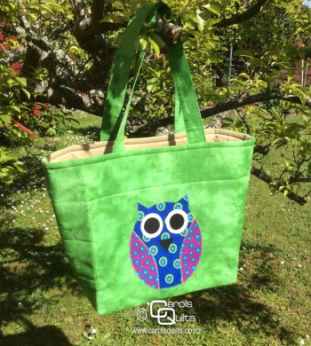 Owl on a green bag by Carols Quilts
