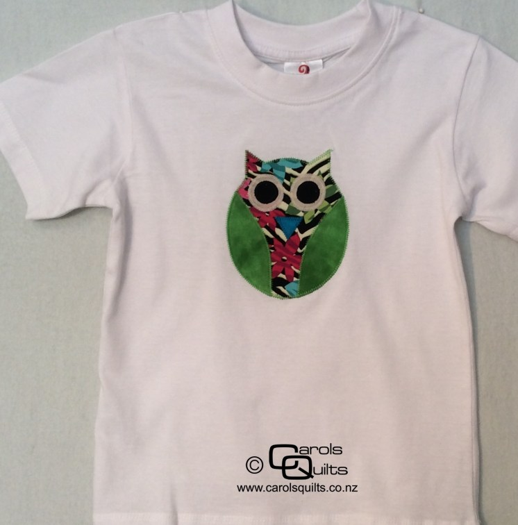Owl on a t shirt from carols quilts