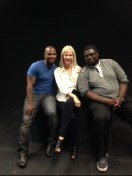 """Carol with """"Any Minute Now"""" cast Steven Strickland (L) and Shaheed K. Woods (R)"""